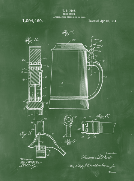 Beer Stein Patent Print Art on Canvas - Canvas Wall Art - HolyCowCanvas