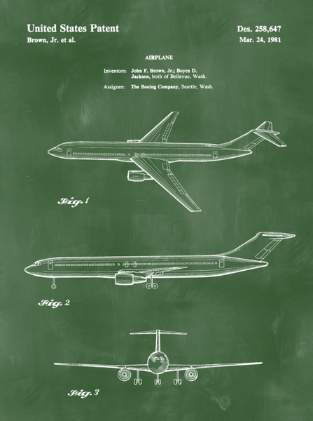 Airplane Patent Print Art on Canvas - Canvas Wall Art - HolyCowCanvas