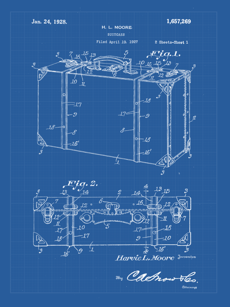 Travel Patent Suitcase  Print Art on Canvas - Canvas Wall Art - HolyCowCanvas