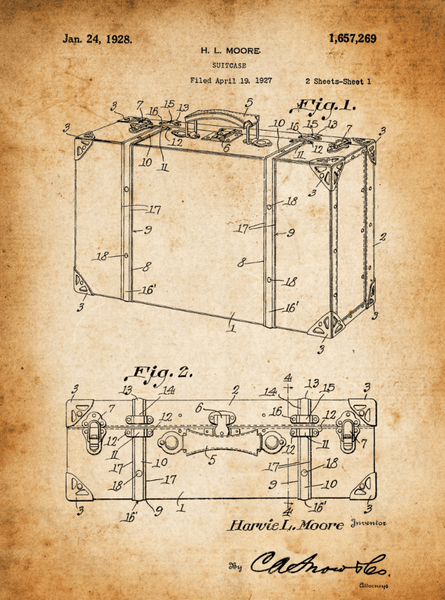 Suitcase Patent Print Art on Canvas - Canvas Wall Art - HolyCowCanvas