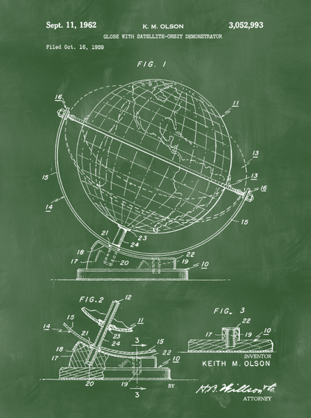 Globe Patent Print Art on Canvas - Canvas Wall Art - HolyCowCanvas