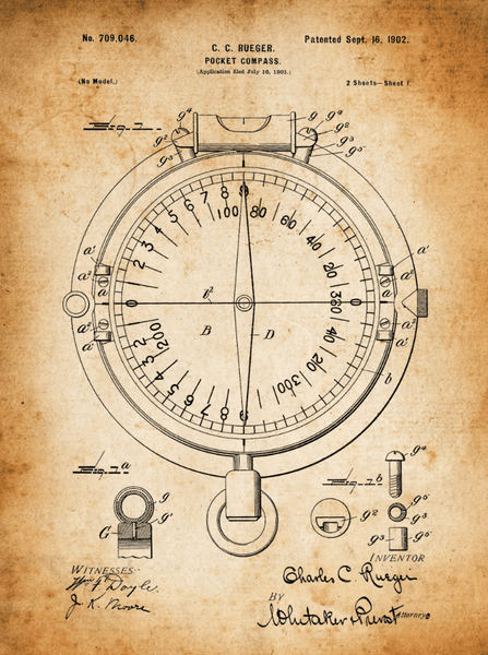 Travel Patent Compass Print Art on Canvas - Canvas Wall Art - HolyCowCanvas