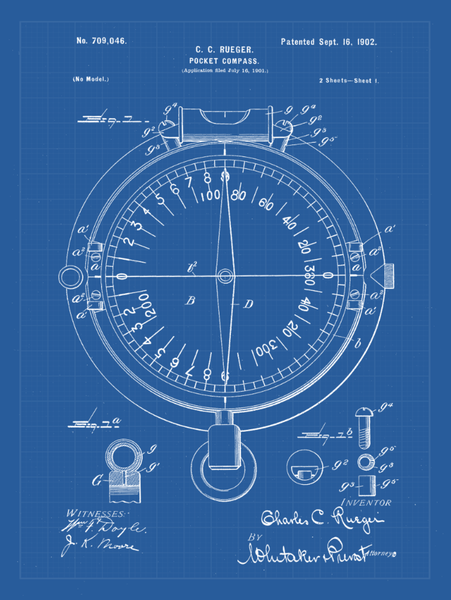 Compass Patent Print Art on Canvas - Canvas Wall Art - HolyCowCanvas