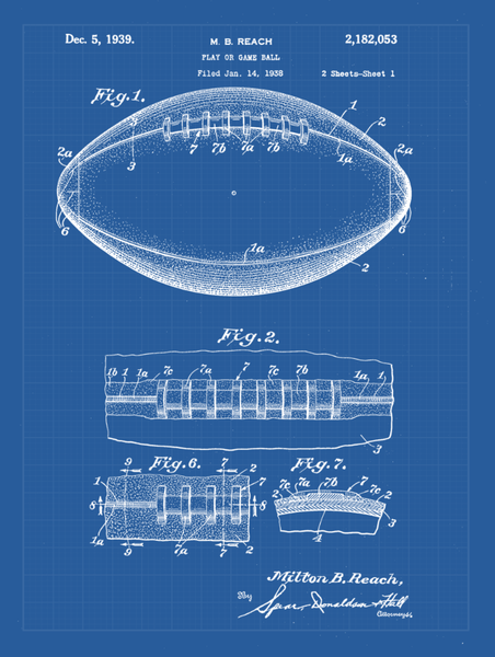 Football Patent Print Art on Canvas - Canvas Wall Art - HolyCowCanvas
