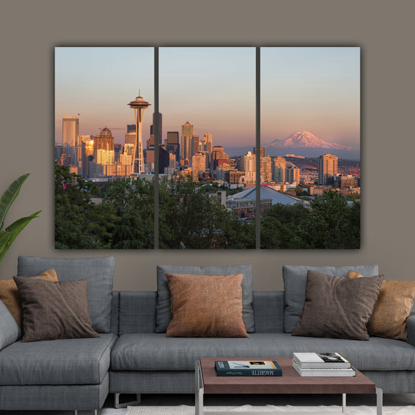 Seattle Skyline Mt. Ranier on Canvas