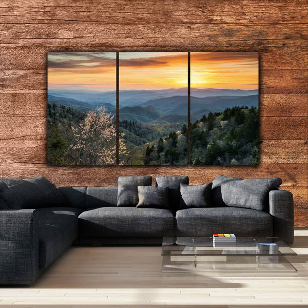 Smoky Mountain Sunset on Canvas - Canvas Wall Art - HolyCowCanvas