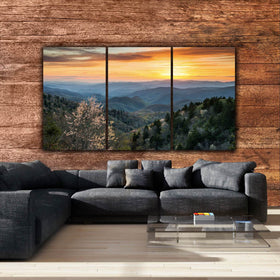 Smoky Mountain Canvas Wall Art at Sunset