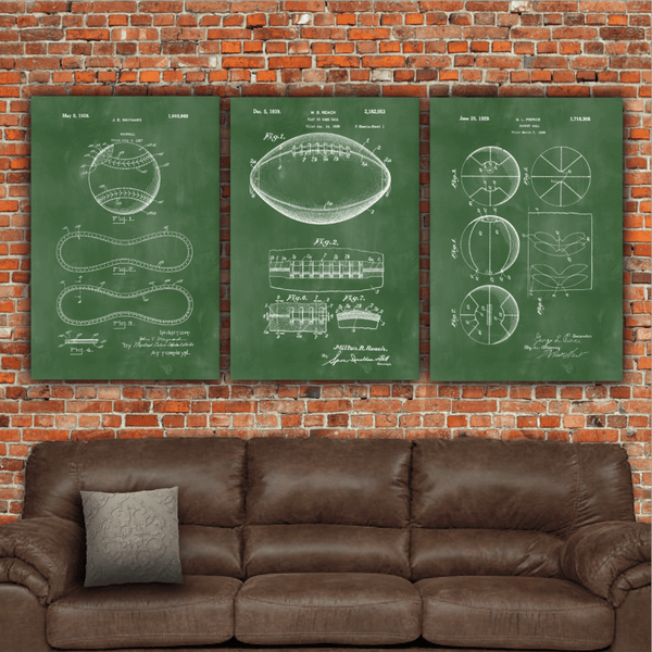 Baseball Patent Print Art on Canvas - Canvas Wall Art - HolyCowCanvas