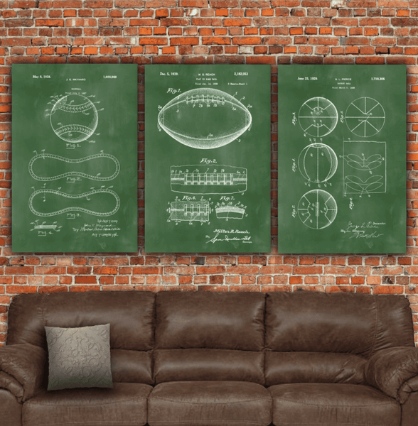 Sports Art Patent Prints on Canvas - Framed & Ready to Hang - Canvas Wall Art - HolyCowCanvas