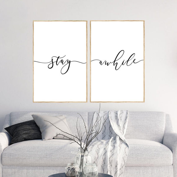 Stay Awhile Minimalist Art Canvas
