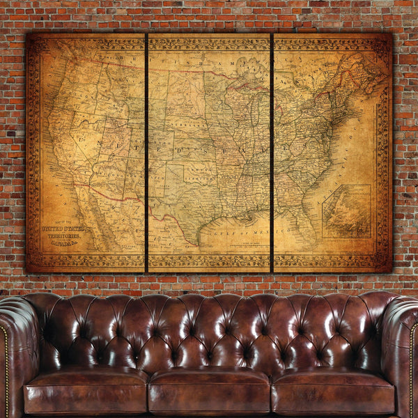Vintage US Map Circa 1900 Canvas Wall Art - Canvas Wall Art - HolyCowCanvas