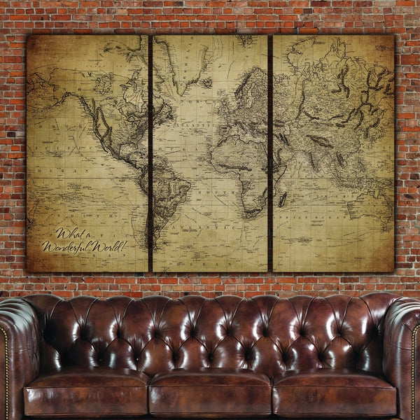 Golden Brown Vintage World Map Wall Art - Circa 1850 - Canvas Wall Art - HolyCowCanvas