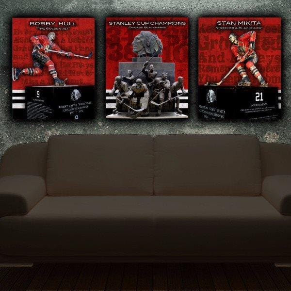 Chicago Blackhawks Canvas Wall Art Set of 3 - Canvas Wall Art - HolyCowCanvas