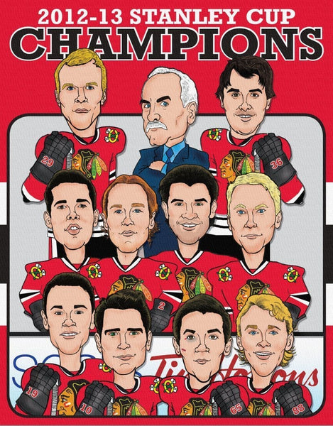 Blackhawks Illustration on Canvas - Canvas Wall Art - HolyCowCanvas