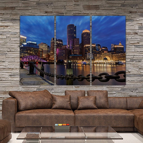 Boston Skyline Canvas Art Set - Canvas Wall Art - HolyCowCanvas