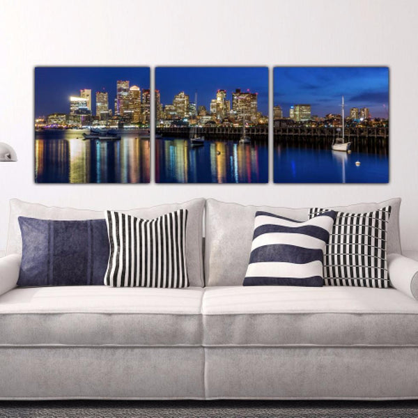 Boston Skyline at Night - Panorama - Canvas Wall Art - HolyCowCanvas