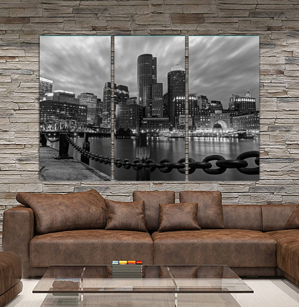 Black & White Boston Skyline Canvas - Canvas Wall Art - HolyCowCanvas