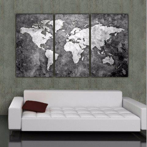 B&W World Map Art on Canvas - Canvas Wall Art - HolyCowCanvas