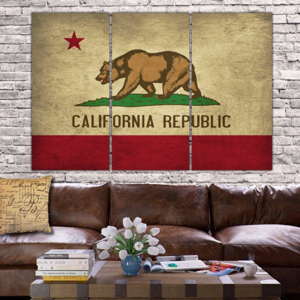 California State Flag Canvas Wall Art - Canvas Wall Art - HolyCowCanvas