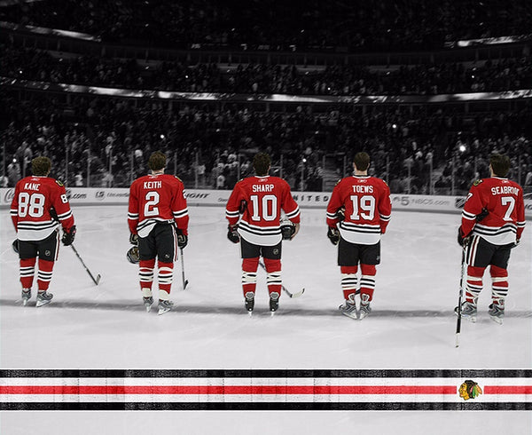 "Chicago Blackhawks Fab 5 Canvas Art (20"" x 16"") - Canvas Wall Art - HolyCowCanvas"
