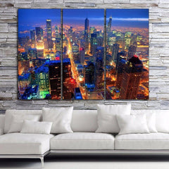 Chicago Bright Nite Skyline on Canvas - Canvas Wall Art - HolyCowCanvas