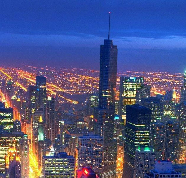 Chicago Skyline at Night - Canvas Wall Art - HolyCowCanvas