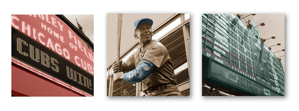 Chicago Cubs Canvas Art Set of 3 - Canvas Wall Art - HolyCowCanvas