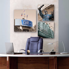 Chicago Cubs Office Art - Set of 3 - Canvas Wall Art - HolyCowCanvas