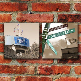 Chicago Cubs Wrigley Field Canvas - Set of 2