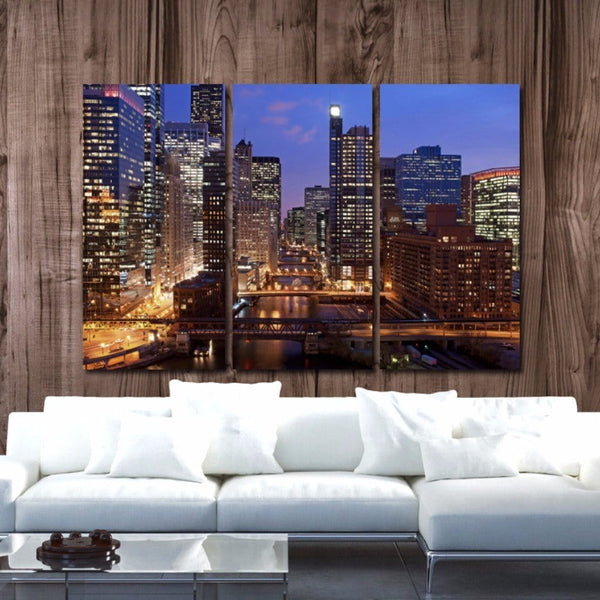Chicago Skyline Canvas Art - Chicago River - Canvas Wall Art - HolyCowCanvas