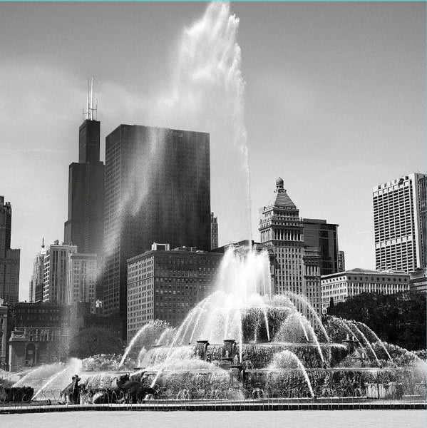 Chicago Skyline Black & White Wall Art - Canvas Wall Art - HolyCowCanvas