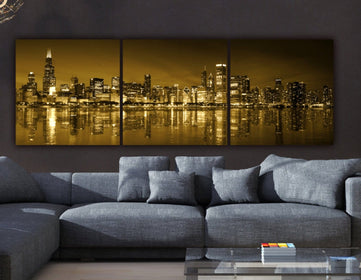 Chicago Skyline Gold Coast Canvas Set