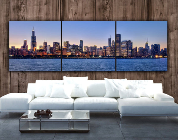 Chicago Skyline on Canvas at Dusk - Canvas Wall Art - HolyCowCanvas