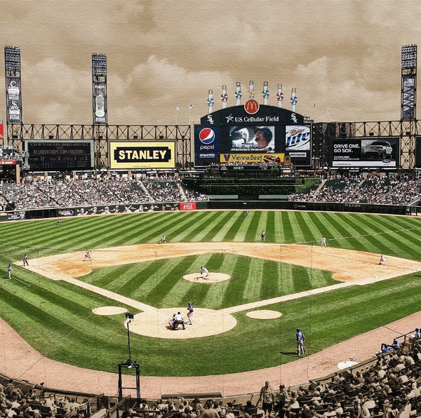 White Sox Stadium  Canvas Wall Art - 14x14 - Canvas Wall Art - HolyCowCanvas