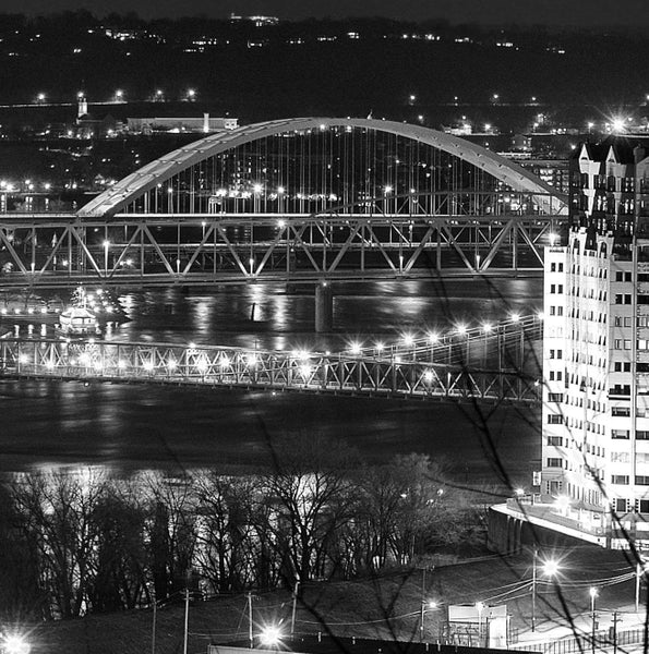 Cincinnati Skyline Black & White Canvas Art - Canvas Wall Art - HolyCowCanvas