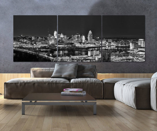 Cincinnati B&W Skyline Canvas Art - Canvas Wall Art - HolyCowCanvas