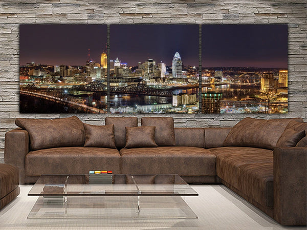 Cincinnati Skyline Canvas Wall Art - Canvas Wall Art - HolyCowCanvas