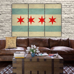 City of Chicago Flag Canvas Art - Canvas Wall Art - HolyCowCanvas