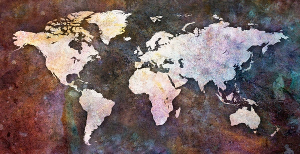 Color World Map Art on Canvas - Canvas Wall Art - HolyCowCanvas