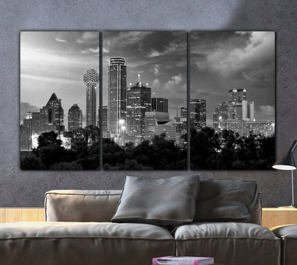 Dallas Skyline B&W Canvas Wall Art - Canvas Wall Art - HolyCowCanvas