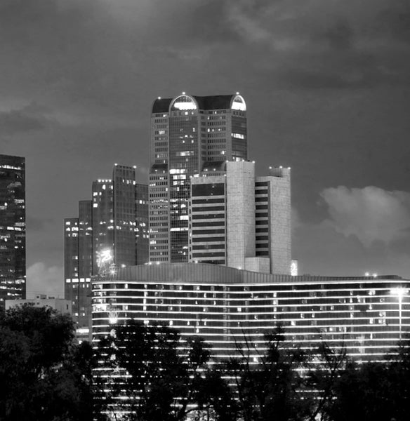 Dallas Skyline Black & White Canvas Art - Canvas Wall Art - HolyCowCanvas