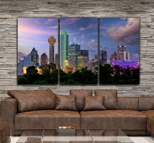 Dallas Skyline Canvas Wall Art - Canvas Wall Art - HolyCowCanvas