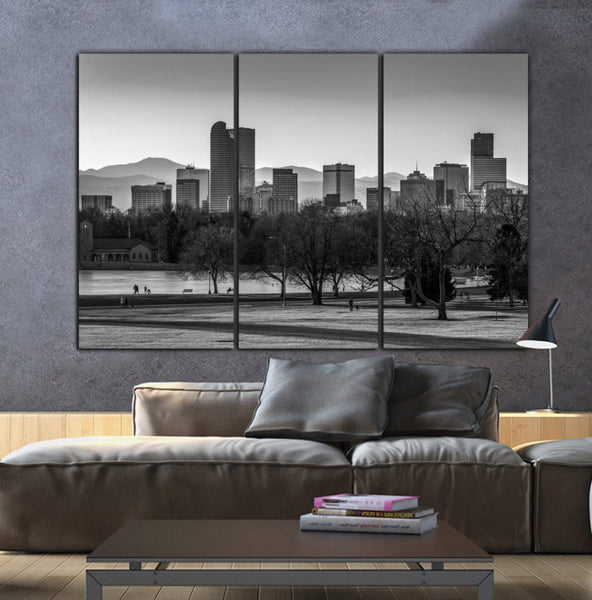 Denver Skyline Black & White Canvas Art - Canvas Wall Art - HolyCowCanvas