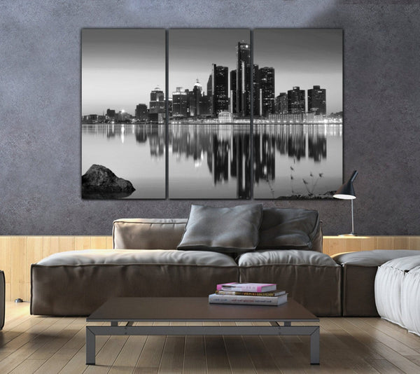 Detroit Skyline Canvas - Black & White - Canvas Wall Art - HolyCowCanvas