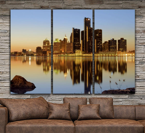 Detroit Skyline Wall Art - Canvas Wall Art - HolyCowCanvas