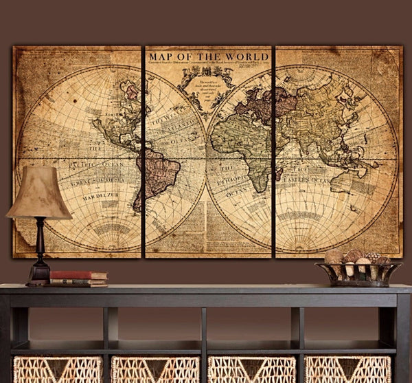 Aged Tan World Map Canvas Wall Art - Canvas Wall Art - HolyCowCanvas