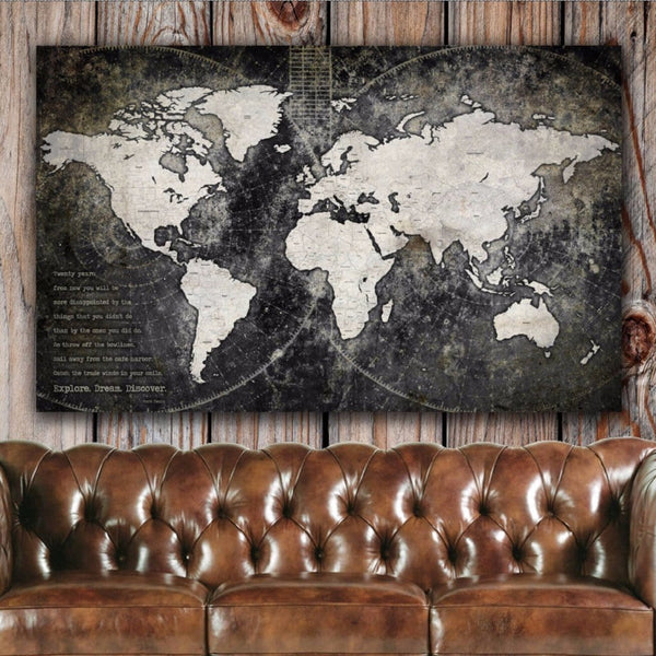 Industrial Push Pin World Map - Single Panel - Canvas Wall Art - HolyCowCanvas