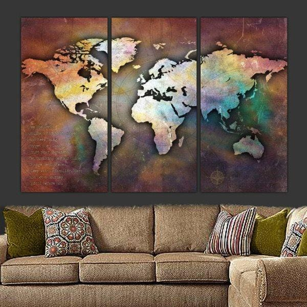 Iridescent Push Pin World Map - Canvas Wall Art - HolyCowCanvas