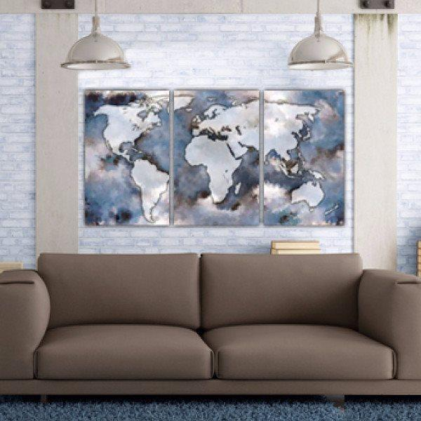 Large World Map Art on Canvas, Blues & Tans Map