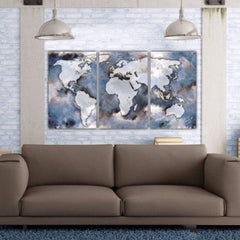 Large World Map Art on Canvas, Blues & Tans Map - Canvas Wall Art - HolyCowCanvas